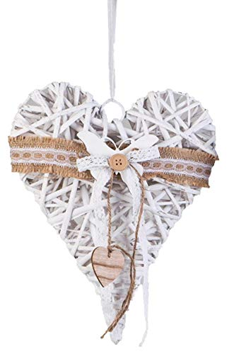 dekojohnson Rattan-Herz Fenster-Deko hängend Landhaus Holz Herzhänger Tür-Kranz Weiß Frühling 30x40cm Groß Schmetterling (Frühlings-kranz Für Draußen)
