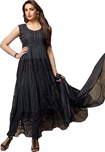 Clickedia Womens Brasso & Net Anarkali Dress Material (Black Anarkali _Black _Free Size)