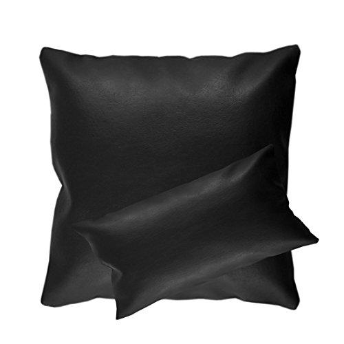 Qool24 Kunstleder Kissenbezug mit Reißverschluss Lederimitat Kissenhülle Kissenbezüge 10 Farben und 8 Größen Schwarz 50x50 cm (Kissenbezug Leder)