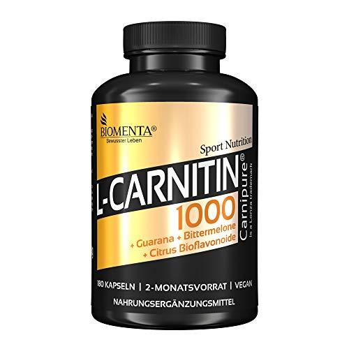 BIOMENTA L-CARNITIN 1000 | AKTION !!! | 1.000 mg L CARNITIN (Carnipure®) + GUARANA + BITTERMELONE + CITRUS BIOFLAVONOIDE | 180 L Carnitin Kapseln HOCHDOSIERT| 2 Monatskur | VEGAN - Gewicht-verlust-nahrungsergänzungsmittel