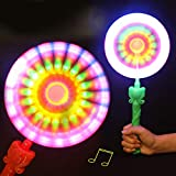 Vovotrade Moulins Vent Clignotants Allument LED Et Musique Arc-en-Ciel Windmills Flashing Light Up LED and Music Rainbow Spinning Windmill Lights Toy (Random)