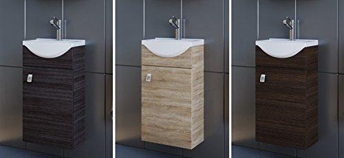 Planetmöbel Waschbecken mit Waschbeckenunterschrank/Waschtisch-Unterschrank 40cm Gäste Bad WC (Anthrazit)