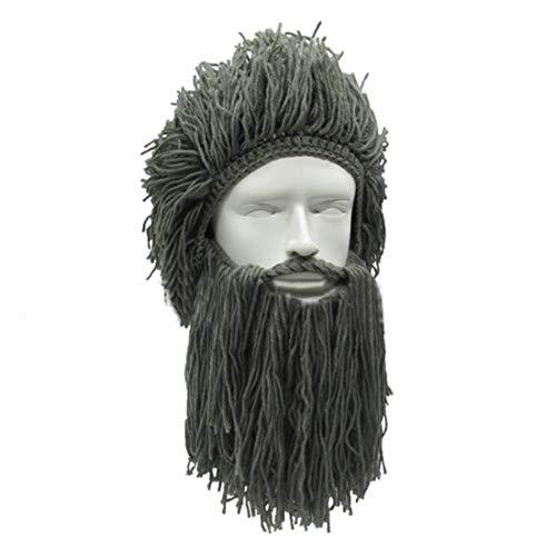 Erwachsener Mann gestrickte Halloween-Perücken-Kappen-Perücken-Kappe Bequeme gesunde Kreativität, handgemachter Bart-Perücken-Hut Hut (Farbe : Grau)