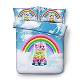 Denominazione del prodotto: Copripiumino.Materiale: Seta.Stile: 3D creativo.Modello: Rainbow Cat.Materiale del tessuto: seta.Numero di pezzi: 3 pezzi.Nota: il colore effettivo può variare dal colore sullo schermo a causa delle limitazioni del colore ...