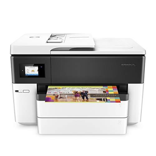 HP OfficeJet Pro 7740 (G5J38A) Stampante Multifunzione a Getto di Inchiostro per Grandi Formati A3, Stampante, Scanner, Fotocopiatrice, Fax, Wi-Fi, Ethernet e USB, Bianca