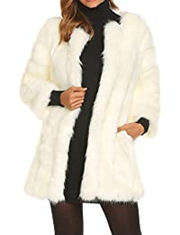 2fa0133708f207 Modfine Fell Jacke Damen Winter Warme Elegant Jacke Fellmantel Parka  Kunstpelz Mantel