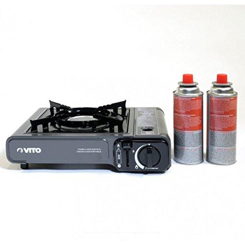 HCIA Gas tragbar Piezo + 2Gaskartuschen zu baillonnette. Kochfläche Camping Gas Butan Propan