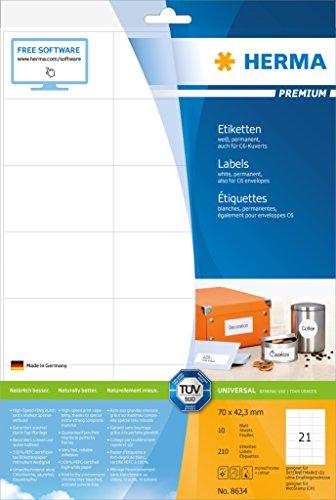 Preisvergleich Produktbild Herma 8634 Adressetiketten selbstklebend (70 x 42,3 mm auf Premium DIN A4 Papier, matt) 210 Stück auf 10 Blatt, weiß, bedruckbar, für C6-Briefumschläge, Internetmarke (D) und WebStamp (CH)