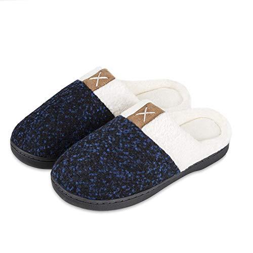 Verwöhnen Paket (IceUnicorn Winter Hausschuhe Herren Damen Memory Foam Plüsch Wärme Home rutschfeste Slippers wollähnliche für Drinnen und Draußen(Blau,40/41EU))