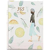 Sicond Cuaderno de notas para estudiantes, agenda de 365 días, con agenda semanal, organizador de diario, multifunción, cuaderno 18.2 * 13.5cm Leaf Lemon