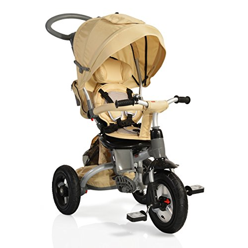 tricycle mobi air dreirad 4 in 1 luftreifen drehbarem sitz schubstange beige. Black Bedroom Furniture Sets. Home Design Ideas