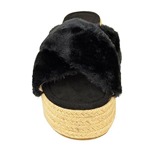 Claquettes à semelles plateforme - brides en fourrure/style espadrille - femme Fausse fourrure noire/corde