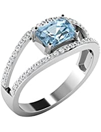 9ct Oro Blanco En forma de Cuadrada Anillo de Aguamarina y Diamante, 0,28 ct Augamarina y 0,3 ct Diamante, 2,41 gramos,