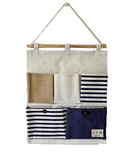 Joyfeel buy 1 pièce sac de rangement suspendu multifonctionnel avec 5 poche Couverture accrochante de porte de sac de mur de conception de rayure de toile de coton