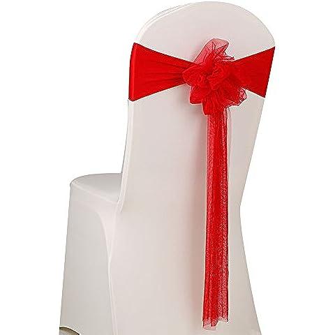 aihome Confezione da 20fiocchi in organza sedia fiocco fascia per Banchetto di nozze e Partito eventi Forniture decorazione sedia, Sash Red - Organza Sash