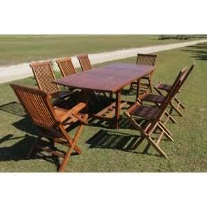 Sun d'koh - Salon de jardin en teck massif huilé :1 Table rectangulaire 210/150 cm - 6 chaises pliantes - 2 fauteuils pliants -