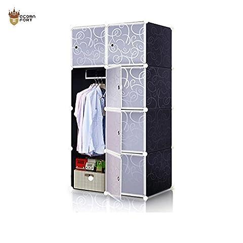 AcornFort DIY 8 Gates 2 Columns 4 Tiers Extra Deep Interlocking Wardrode Storage Cubes Shelves Organisers 74CM * 47CM *