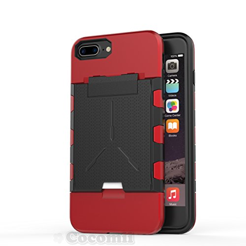 iPhone 8 Plus / 7 Plus / 6S Plus / 6 Plus Hülle, Cocomii Viking Armor NEW [Heavy Duty] Premium Built-in Multi Card Holder Shockproof Hard Bumper Shell [Military Defender] Full Body Dual Layer Rugged C Red