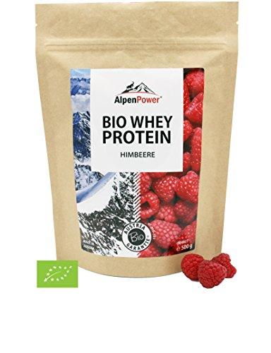 ALPENPOWER | BIO WHEY Protein Himbeere | Ohne Zusatzstoffe | 100% natürliche Zutaten | 7 Sorten | Bio-Milch aus Bayern und Österreich | Superfood Himbeere | Hochwertiges Eiweiß | Low Carb | Organic Whey | 500 g (Paleo Diät-protein-pulver)