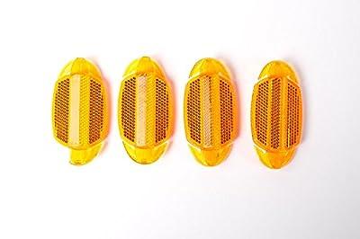 4 Stück Fahrrad Speichen Reflektoren Speichenstrahler Katzenauge orange