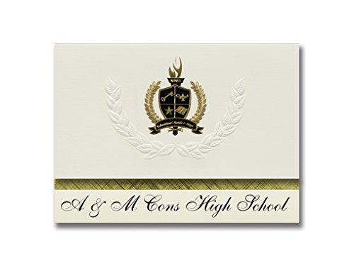 Signature Announcements A & M Cons High School (College Station TX) Abschlussankündigungen, Präsidential-Stil, Grundpaket mit 25 goldfarbenen und schwarzen metallischen Folienversiegelungen Pac-station