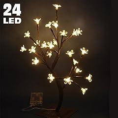 Idea Regalo - Bakaji albero di ciliegio luminoso natale per interno da tavolo appoggio a batterie 24 LED altezza 40 cm con base punte luci fiore bianco caldo calda naturale arredo decorazione addobbi natalizio