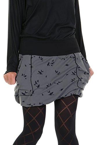 3Elfen Ballon-Rock Damen Jersey-Rock mit Taschen kurzer Rock Damen grau Vogel S Mini-Rock