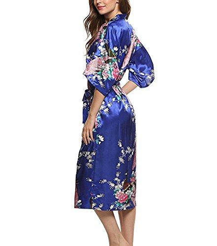 JIURUN lange Kimonos für Damen Bademantel aus Satin mit Pfau und Blüten Morgenmantel Robe Dunkelblau
