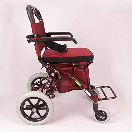 Das Falten des Freizeitwagens des alten Mannes kann die medizinische Behandlung des Fußgängerfahrens, den älteren Freizeitwarenkorb justieren, der alte Mann kann den Stuhl sitzen und drücken, rot -