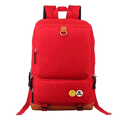 """Butterme Unisex Segeltuch -Rucksack-Rucksack-Schulwandertasche Schultasche College-Tasche passt 15.6 """"Laptop Rot"""