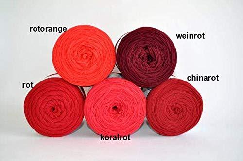 Textilgarn Baumwollegarn Stoffgarn Rosa Rot für Taschen, Körbe, Utensilo, Teppiche (rotorange) (Teppich-korb)