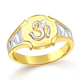 Vidhi Jewels Gold Plated Om Alloy & Brass Finger Ring for Men [VFR118GA]