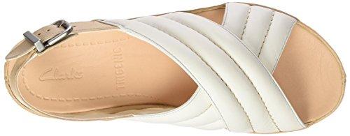 Clarks 261237044, Sandali Donna Bianco (White Leather)