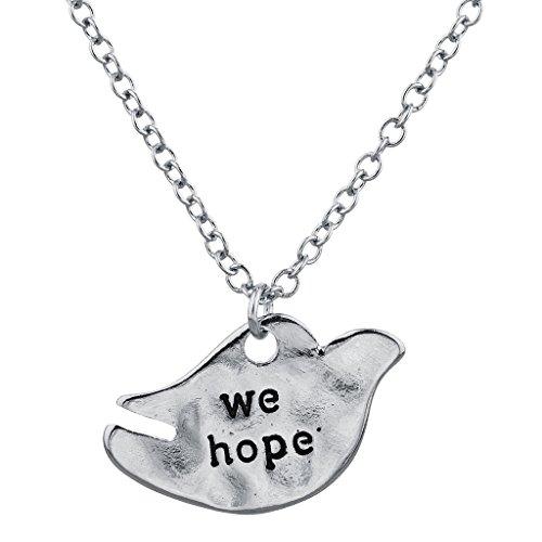 Ton Wir hoffen Inspirierende Verbiage Taube Charm Halskette ()