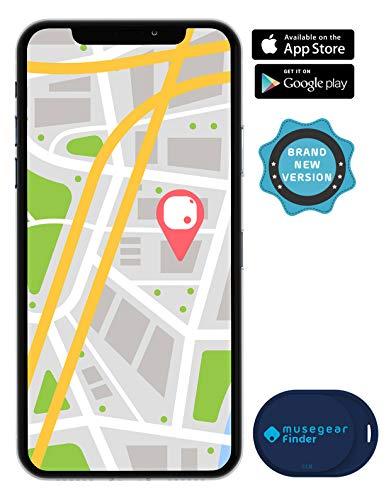 musegear® Schlüsselfinder Mini mit Bluetooth App I Keyfinder laut für Handy in dunkelblau I GPS Ortung/Kopplung I Schlüssel Finden Gps-bluetooth-handy