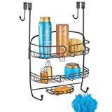 mDesign Duschablage zum Hängen über die Duschtür – praktisches Duschregal ohne Bohren – rostfreier Duschkorb zum Hängen aus Metall – grau