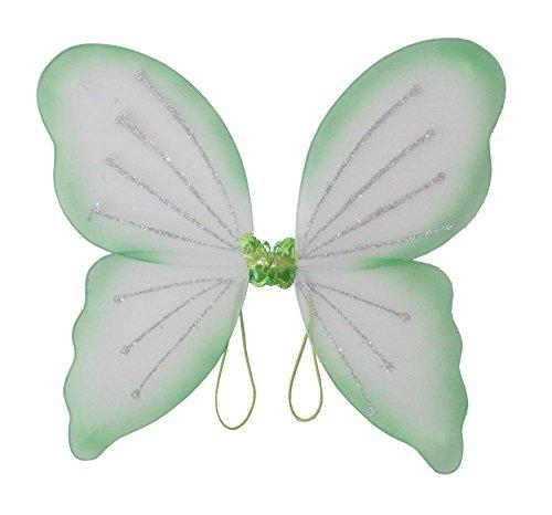 Und Freunde Kostüm Tinkerbell - Elfenflügel, in 3 erhältlich, Karneval, Märchen, Elfe, zauberhaft, märchenhaft, verzaubernd, schön, Gummi zum Anziehen, traumhaft (Grün)