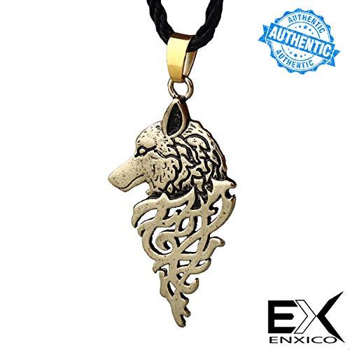 ENXICO Fenrir - Collar con Colgante de Lobo, Color Dorado