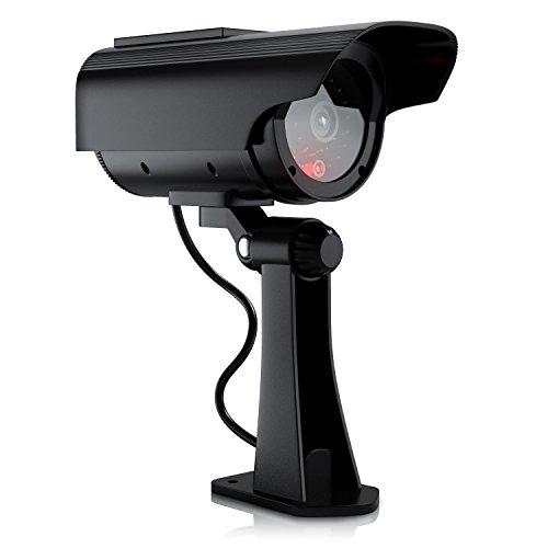 Brandson - Kamera Attrappe mit Solarpaneel | Überwachungskamera-Attrappe | Power LED-Anzeige | simuliertes Betriebslicht + Kabelimitation | keine Batterien notwendig, dank umweltfreundlicher Solartechnik - Batterie Betrieben-security-kamera