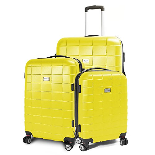 Kofferset 3-teilig Reisekoffer Koffer Trolley Hartschalenkoffer ABS Teleskopgriff Modell Squares (Gelb)