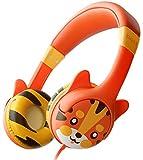 Cuffie Per Bambini KidRox Orecchie da Tigre, Volume Limitato a 85 dB, Regolabili e con Protezione Sicura Dell'udito, Cavo Anti Groviglio, Cuffie Sovrauricolari con Cavo Per Bambini, Ragazzi e Ragazze