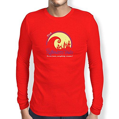NERDO - Visit Halloween Town - Herren Langarm T-Shirt, Größe S, rot