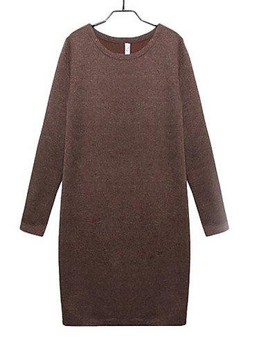 PU&PU Robe Aux femmes Ample Street Chic,Couleur Pleine Col Arrondi Au dessus du genou Polyester BROWN-XL
