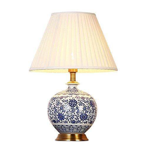 LRW Keramik Lampe des klassischen chinesischen Stil Wohnzimmer Lampe Lampe einfache Schlafzimmer Nachttischlampe Chinesische Harfe