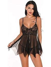 Reooly Ropa Interior de Mujer de Encaje con Cuello en V Malla Delantera Cerrada muñeca Vestido Pijama Ropa Interior Sexy