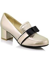 ZHZNVX Scarpe da donna in pelle verniciata Autunno Comfort Heels Chunky Heel Black/Red / Almond, Black, US5.5 / EU36 / UK3.5 / CN35