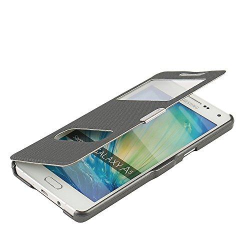 MTRONX para Funda Samsung Galaxy A5 (2015), Doble Ventana Vista Cierre Magnetico Ultra Folio Flip Twill Tela Asargada PU Cuero Delgado Piel Carcasa - Gris(MG2-GY)