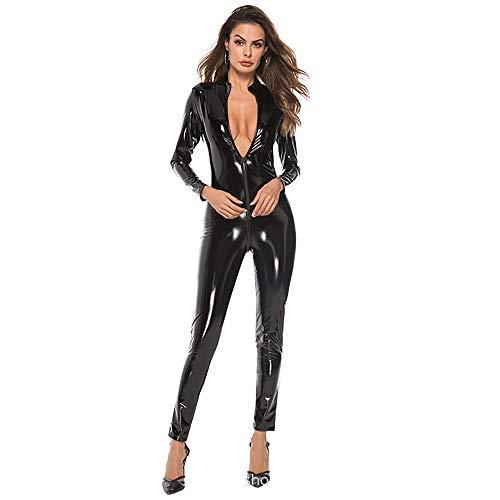 HJG Womens Kunstleder Wet Look Catsuit, Catwoman Kostüm Frauen mit Reißverschluss Catsuit Adult Cosplay,Black,L (Catsuit Spandex Black Womens Body)