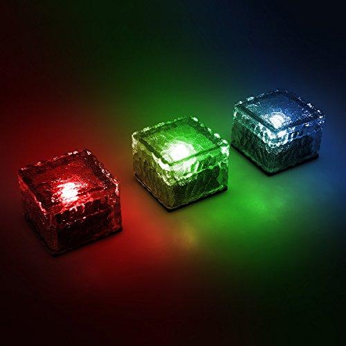 Juego de 4 - Solar LED con cambio de color y para cubitos de hielo de