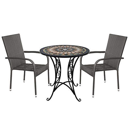 3tlg. Gartensitzgruppe Mosaiktisch Ø70cm + 2X stapelbare Polyrattan Gartenstühle Grau